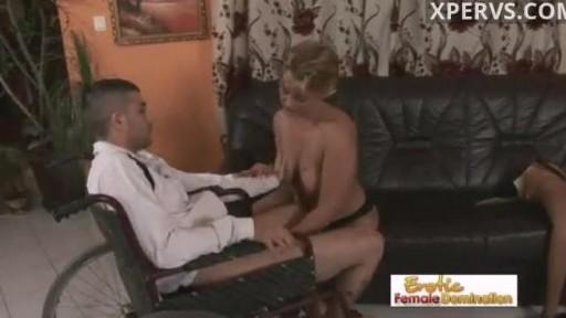 Wheelchair man fucks a milf with one leg
