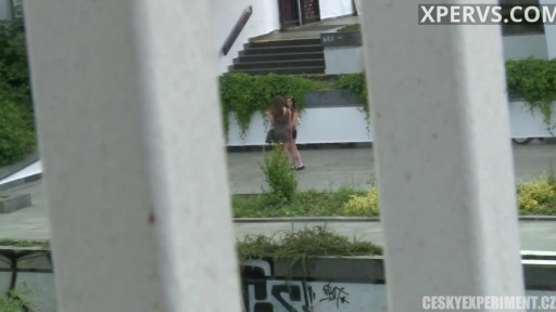 Two naked lesbians at public place