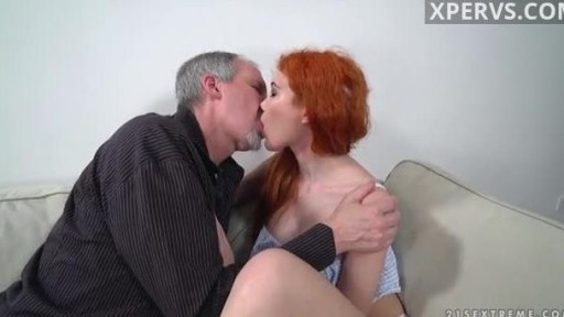Grandpa fucks redhead girl home at sofa