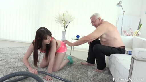 Old grandpa did cumshot into young nanny